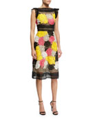 Floral Guipure Lace Sheath Dress, Multicolor