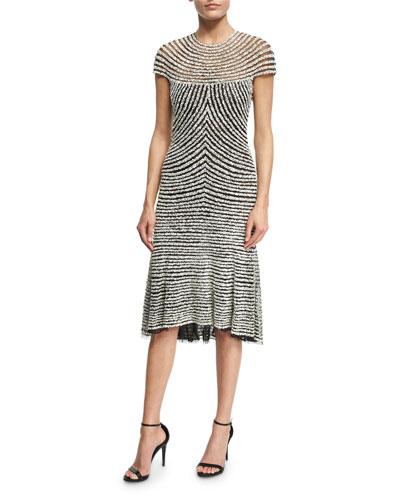 Beaded Cap-Sleeve Cocktail Dress, Black/Silver