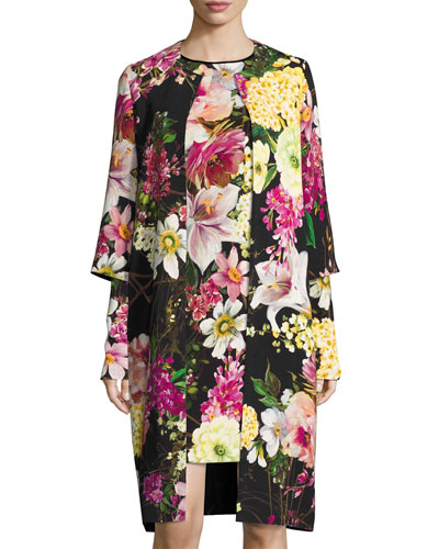 NAEEM KHAN Floral-Print 3/4-Sleeve Coat, Black in Black Pattern