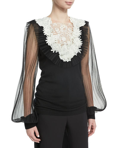 Cashmere Tulle-Sleeve Sweater with Lace Bib, Black/White