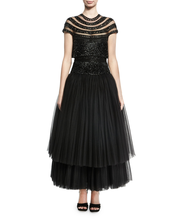 Beaded Fringe Cap-Sleeve Tulle Tea-Length Gown, Black