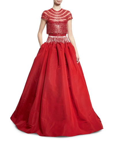 Beaded Fringe Cap-Sleeve Ball Gown, Red