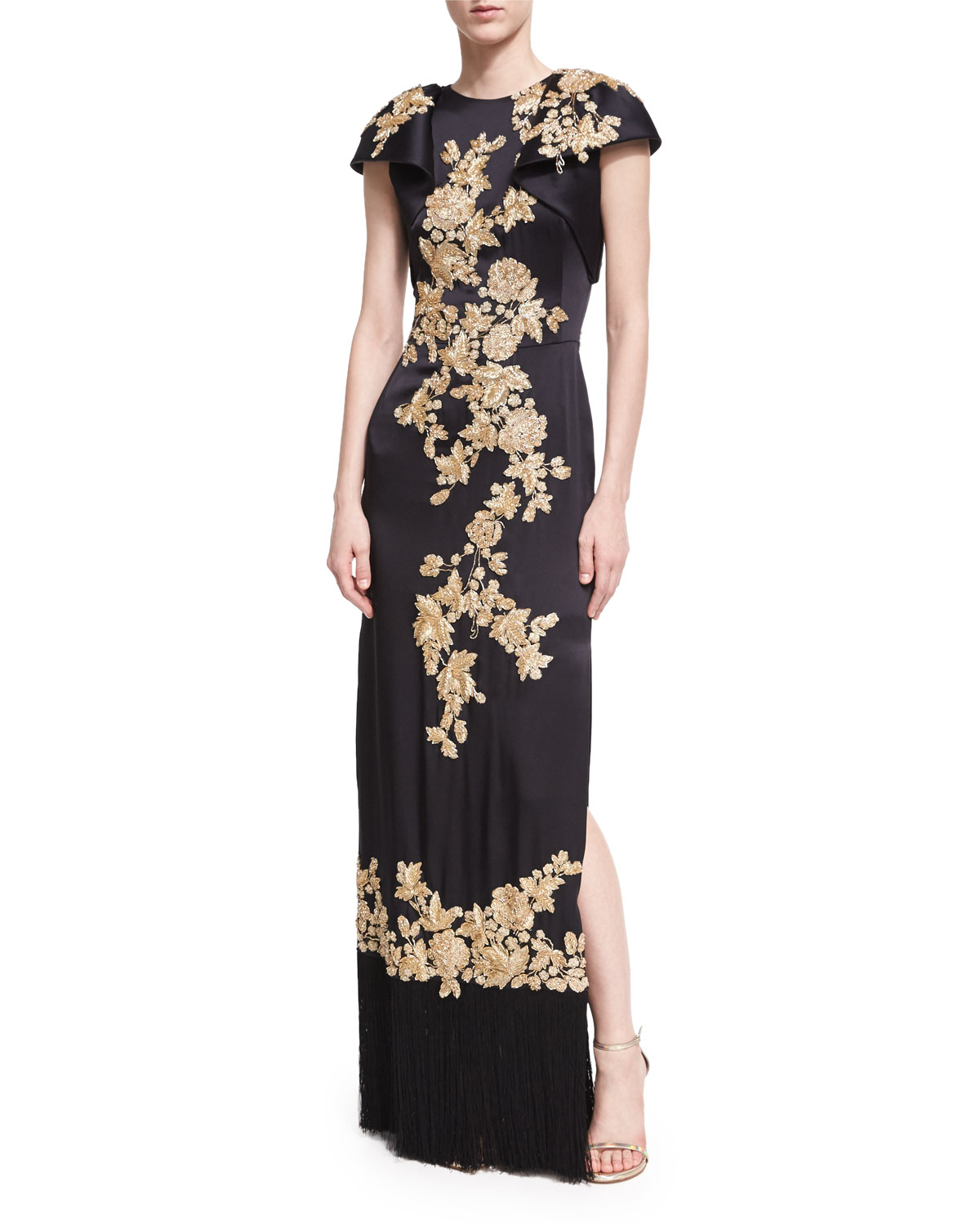 Floral-Embroidered Column Gown with Fringe Hem, Black
