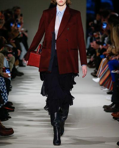 Sheer Georgette Ruffled Midi Skirt, Navy