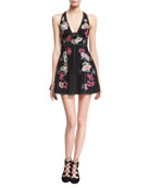 Floral-Embroidered Sleeveless Fit & Flare Minidress, Black