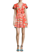 Floral-Print Flutter-Sleeve Wrap Dress, Red