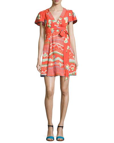 Floral-Print Flutter-Sleeve Wrap Dress, Red