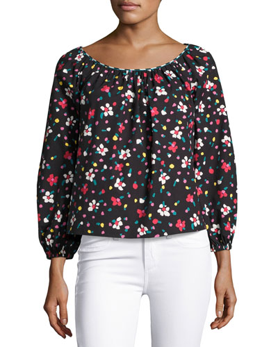 Floral-Print Long-Sleeve Peasant Blouse, Blue