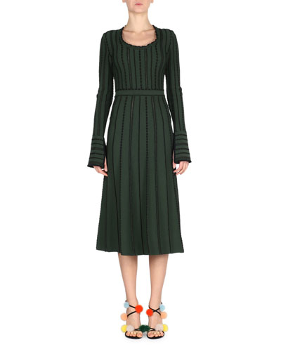 Long-Sleeve Tie-Back Knit Dress