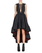 Sleeveless High-Low Jacquard Gown