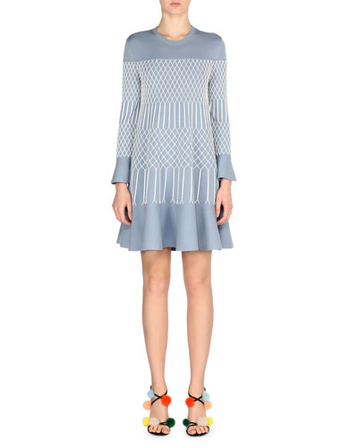Lattice-Embroidered Bell-Sleeve Dress