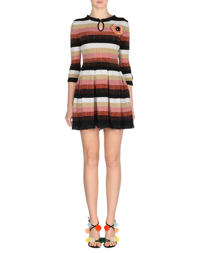 Metallic Striped-Knit Dress w/Fur Pompom