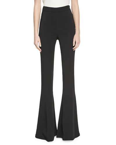 Cushnie Exaggerated Flare Leg High Waisted Pant In Black