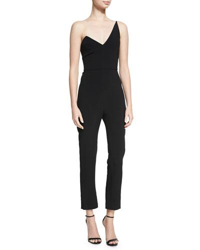 Stefanie One-Shoulder Slim-Leg Jumpsuit