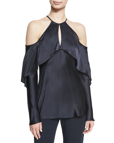 Florence Silk Charmeuse Cold-Shoulder Top
