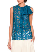 Rochelle Sleeveless Lace Ruffle-Trim Top, Blue