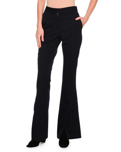 Sally Flare-Leg Double-Hem Trousers, Dark Blue