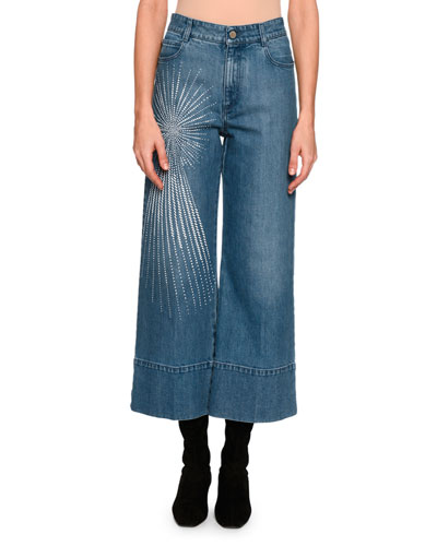Embroidered Starburst Denim Culottes, Blue