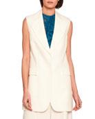 Becka Single-Breasted Jacket Vest, Off White