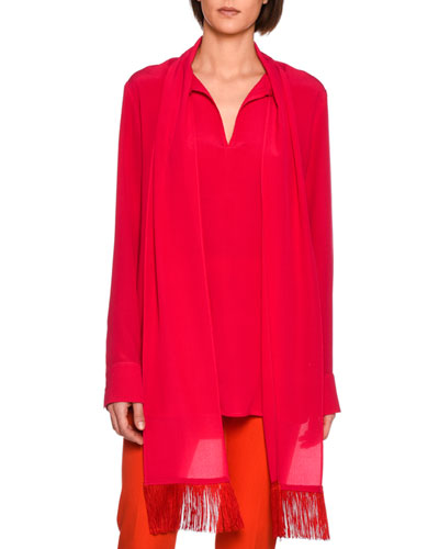Wilma Fringe-Scarf Silk Blouse, Bright Pink