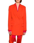 Nicola Double-Breasted Wool Blazer Jacket, Bright Red
