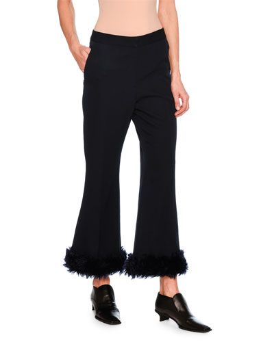 Malina Flare-Leg Trousers with Faux Fur Cuffs, Dark Blue