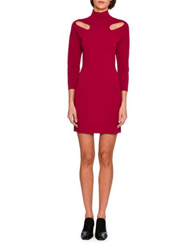 Cutout-Shoulder Knit Mock-Neck Minidress, Bright Pink
