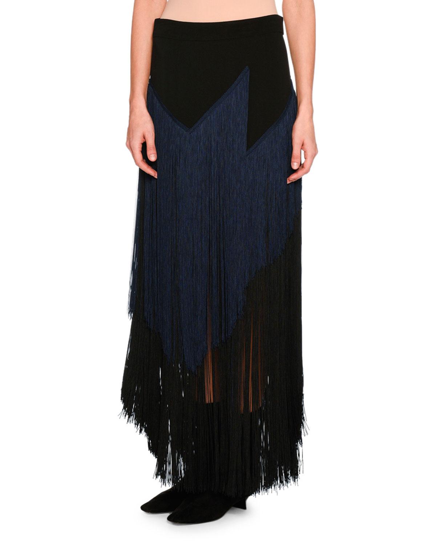 Veronica Tiered Fringe Maxi Skirt, Black/Navy