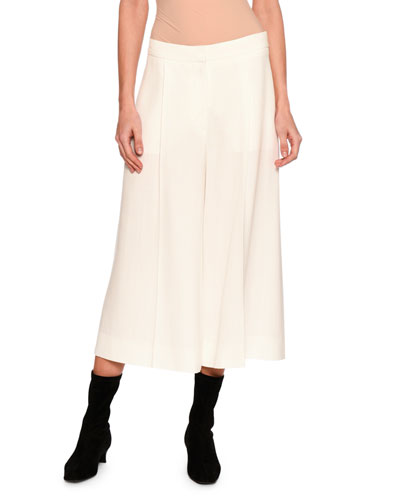Oliver Pleated Wide-Leg Cropped Trousers, Off White