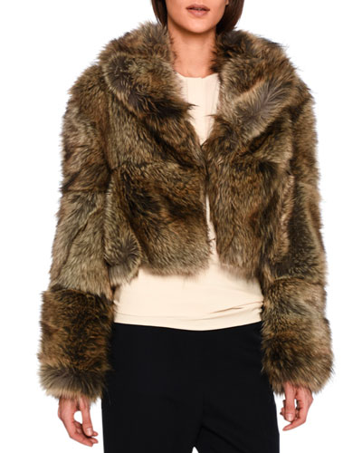 Masha Faux-Fur Chubby Cropped Coat, Gray Fox