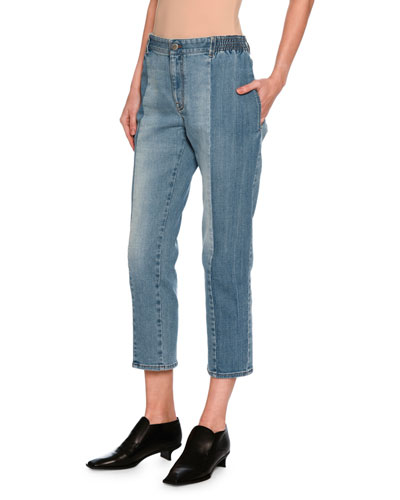 Kimberly Mixed-Denim Cropped Straight-Leg Jeans, Medium Blue