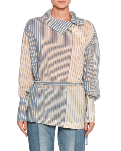 Caterina Striped Asymmetric-Button Blouse, White/Blue