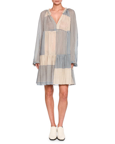 Erika Striped Long-Sleeve Easy Dress, White/Blue