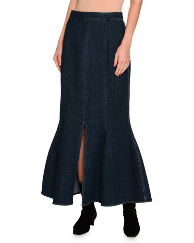 Ivy Fluted Slit-Front Denim Maxi Skirt, Dark Blue