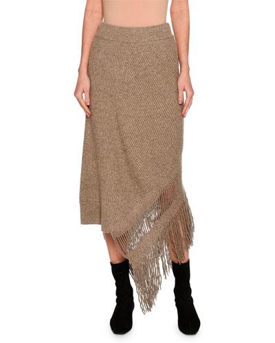 Cashmere-Wool Fringe-Hem Midi Skirt, Beige