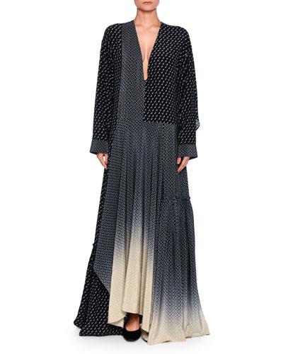 Dominique Scottie Mixed-Print Dégradé Maxi Dress, Dark Blue