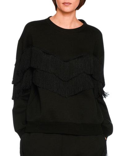 Tiered V-Fringe Sweatshirt, Black