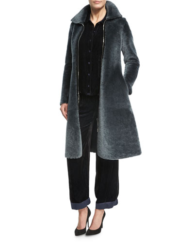 Reversible Shearling Fur Princess Coat, Dark Gray