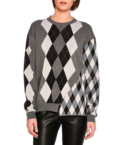 Mixed Argyle Knit Sweater, Gray Pattern