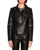 Victoire Faux-Leather Moto Jacket, Black