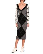 Long-Sleeve Argyle Knit Sweaterdress, Gray Pattern