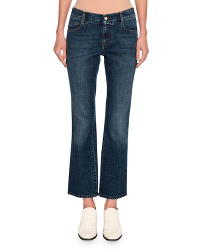 Korky the Cat Skinny Kick-Flare Jeans, Dark Blue