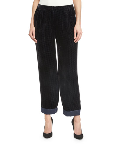 Perforated Velvet Pajama Pants, Black