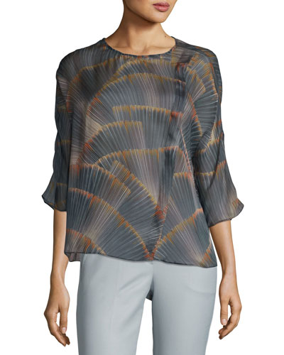 Feather-Print Georgette Tunic, Multicolor