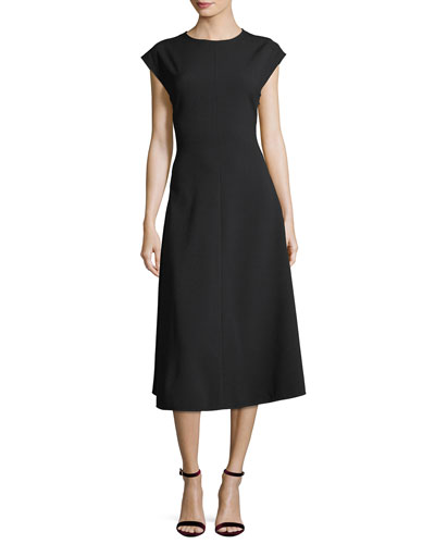 Addison Side-Button A-Line Midi Dress