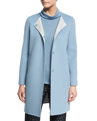 Wool-Cashmere Snap-Front Car Coat, Medium Blue