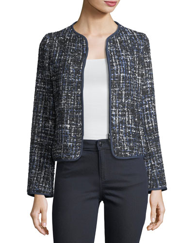 Lurex Tweed Zip-Front Jacket