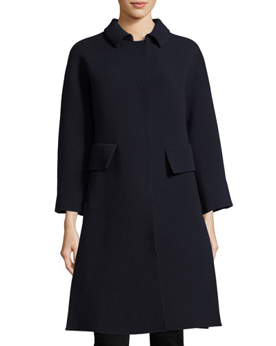 Stretch-Crepe Side-Vent Single-Breasted Coat, Blue