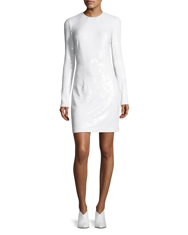 Katie Long-Sleeve Sequined Dress