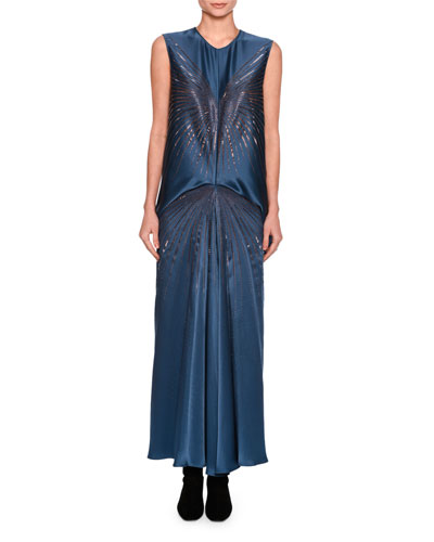Graziella Embellished Starburst Sleeveless Dress, Blue